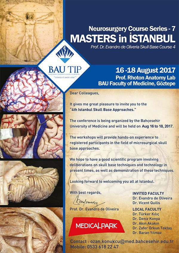 Neurosurgery Course Series -7 MASTERS İn İSTANBUL 16 - 18 August 2017
